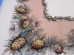 HTF CHP Pinecones on Tan Autumn Fall MWT Novelty Vintage Printed Tablecloth (52 X 51)