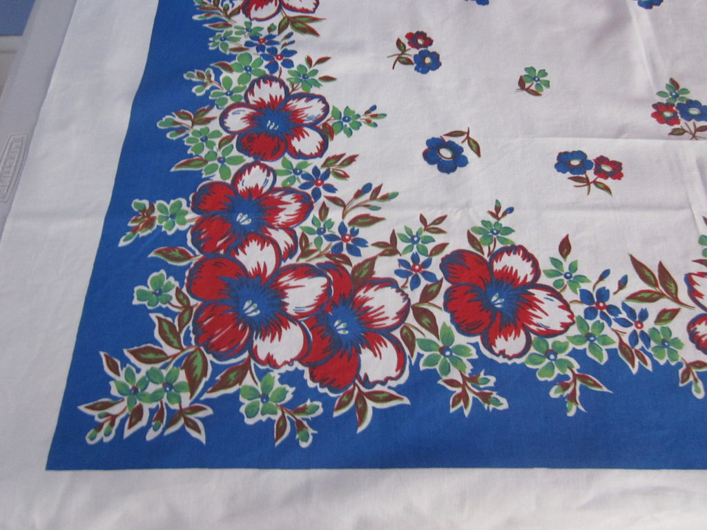 Bright Red Blue Primary Floral Vintage Printed Tablecloth (50 X 48)