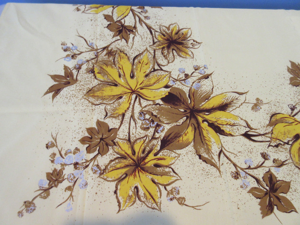 HTF CHP Gold Silver Maple Leaves on Yellow Autumn Fall Novelty Vintage Printed Tablecloth (72 X 53)