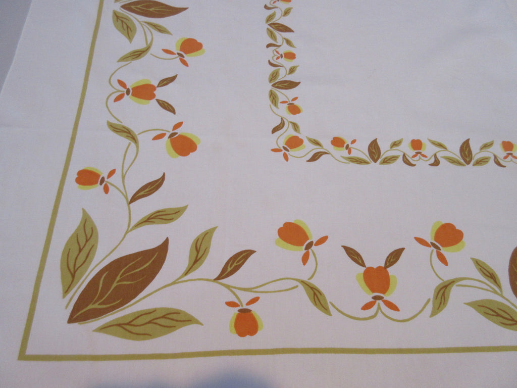 Jewel Tea Autumn Leaf Startex Gold Brown Fall Floral Vintage Printed Tablecloth (54 X 48)