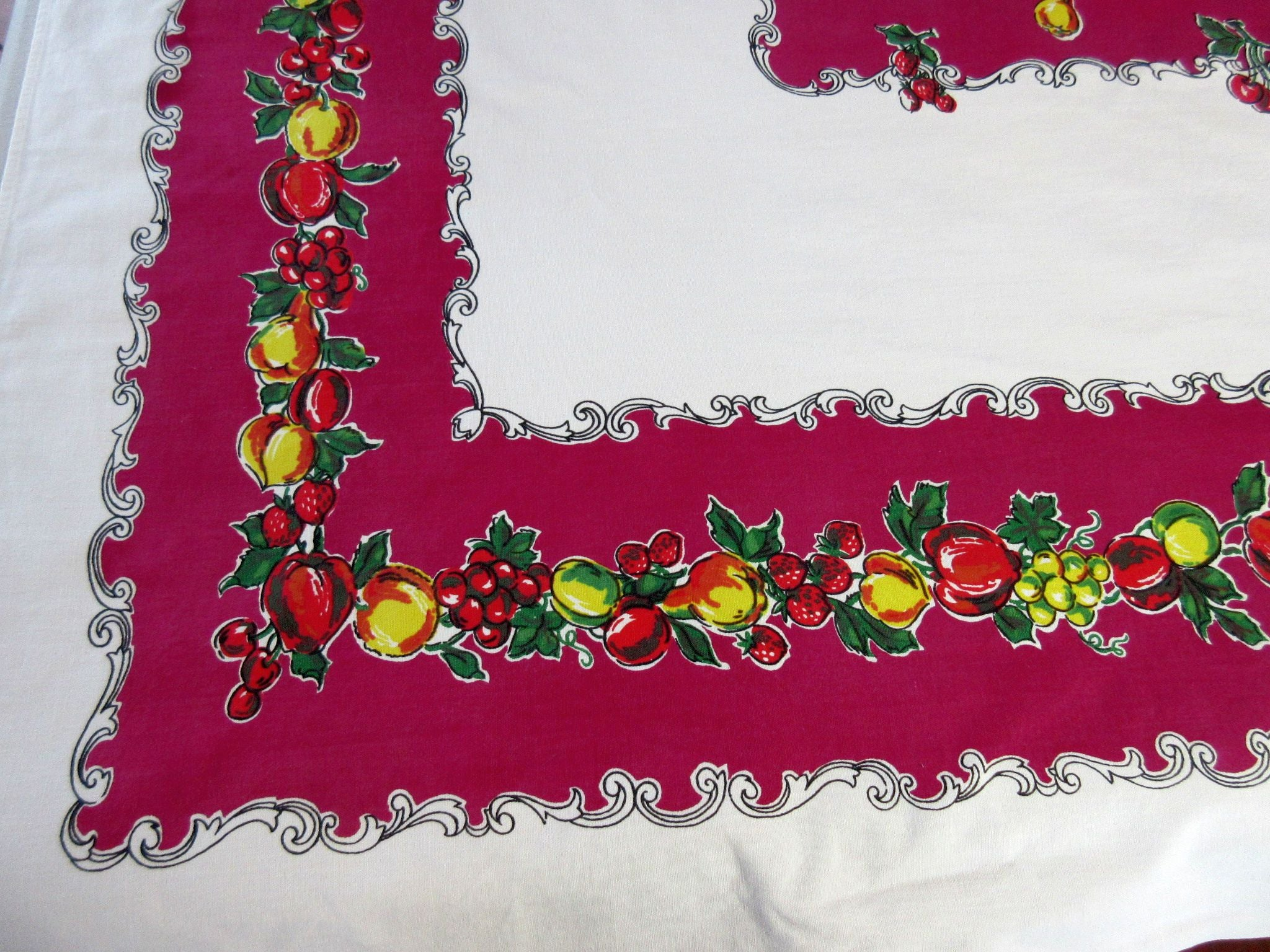 Primary Fruit Swirls on Magenta Vintage Printed Tablecloth (63 X 53)
