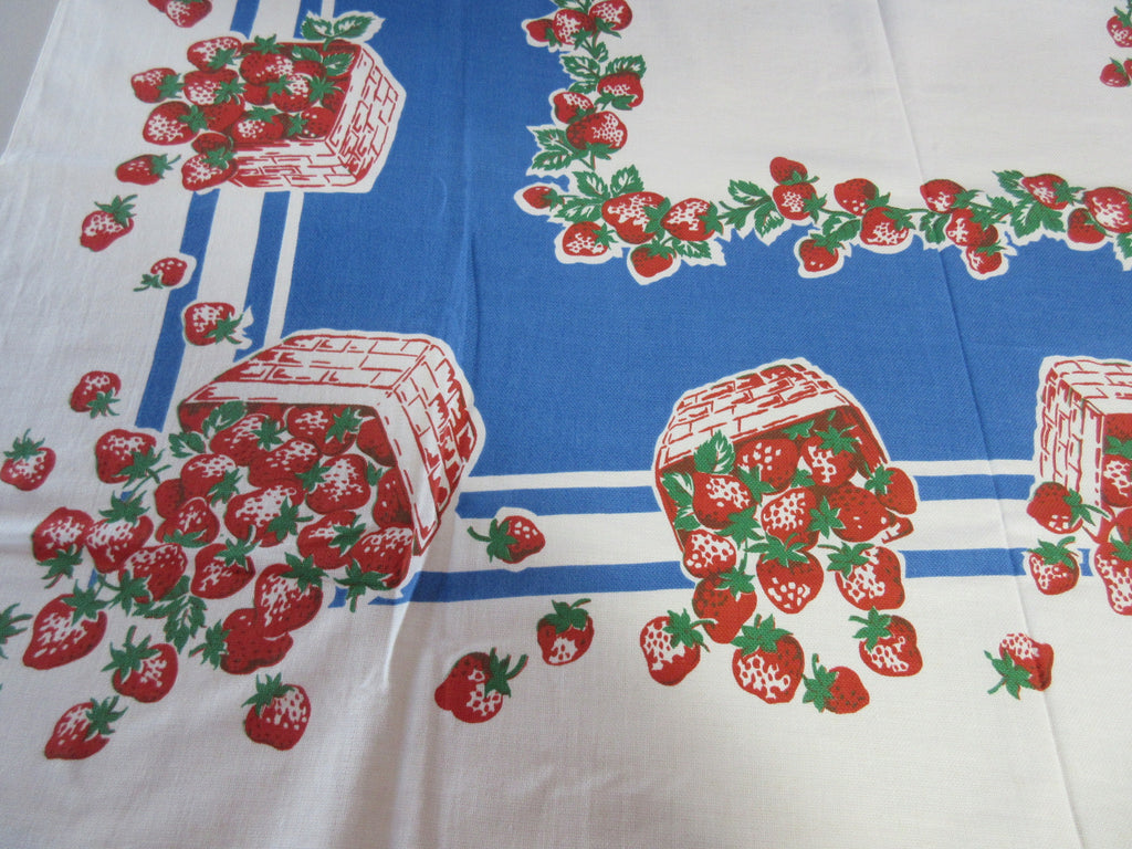 Beauty Kraft Strawberries on Blue Fruit Vintage Printed Tablecloth (47 X 45)