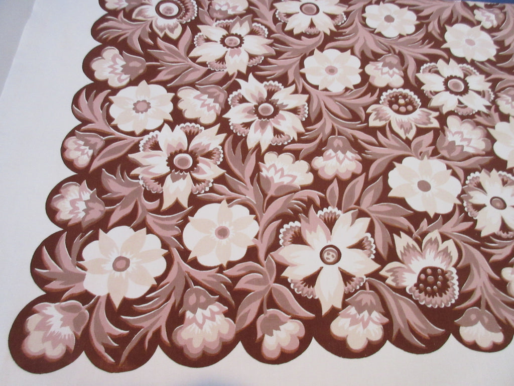 Unusual Wilendure Brown Tan Fall Autumn Floral Vintage Printed Tablecloth (52 X 50)