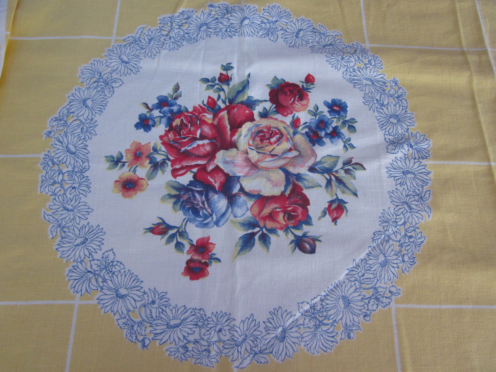 Roses Flower Circles on Yellow Floral Vintage Printed Tablecloth (50 X 48)
