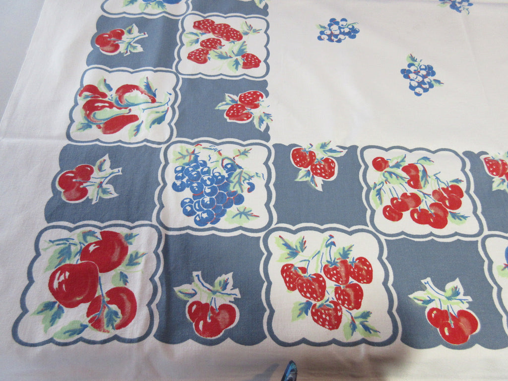 Fruit Squares on Denim Blue Vintage Printed Tablecloth (52 X 46)