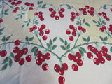 Red Cherry Hearts on Yellow Fruit Vintage Printed Tablecloth (60 X 53)
