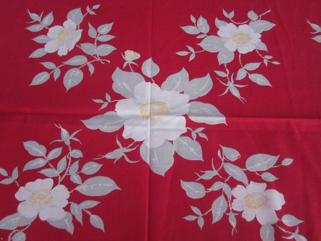 Calaprint Wild Roses on Red Floral Vintage Printed Tablecloth (53 X 46)