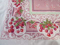 Awesome Cherry Swirls on Pink Fruit Vintage Printed Tablecloth (74 X 58)