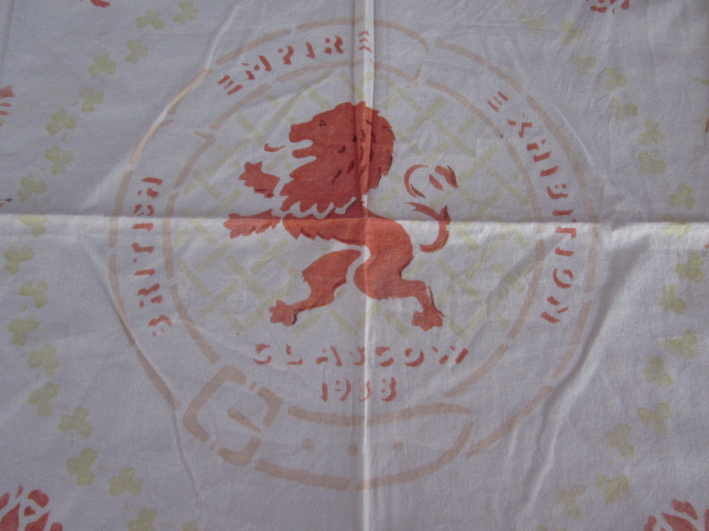 Rare British Exhibition 1938 Souvenir Vintage Printed Tablecloth (35 X 34)