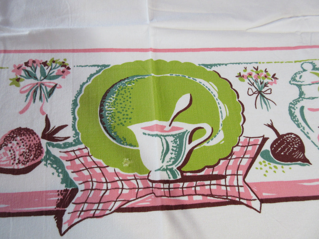 Pink Chartreuse Dishes Fruit Novelty Vintage Printed Tablecloth (48 X 42)