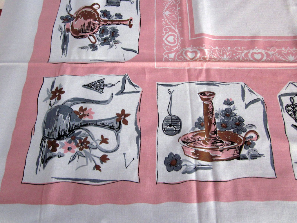 Pink Copperware Candlesticks NWT Novelty Vintage Printed Tablecloth (68 X 50)