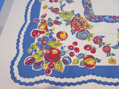 Early Primary Fruit Floral on Blue Scallops Vintage Printed Tablecloth (51 X 47)