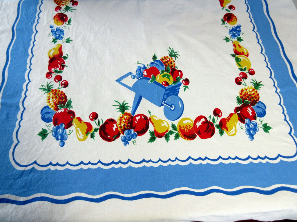 Wheelbarrow Fruit Picnic Table Novelty Vintage Printed Tablecloth (54 X 35)