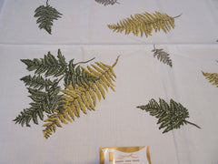 Golden Green Ferns Linen Autumn Fall MWT Novelty Vintage Printed Tablecloth (52 X 52)
