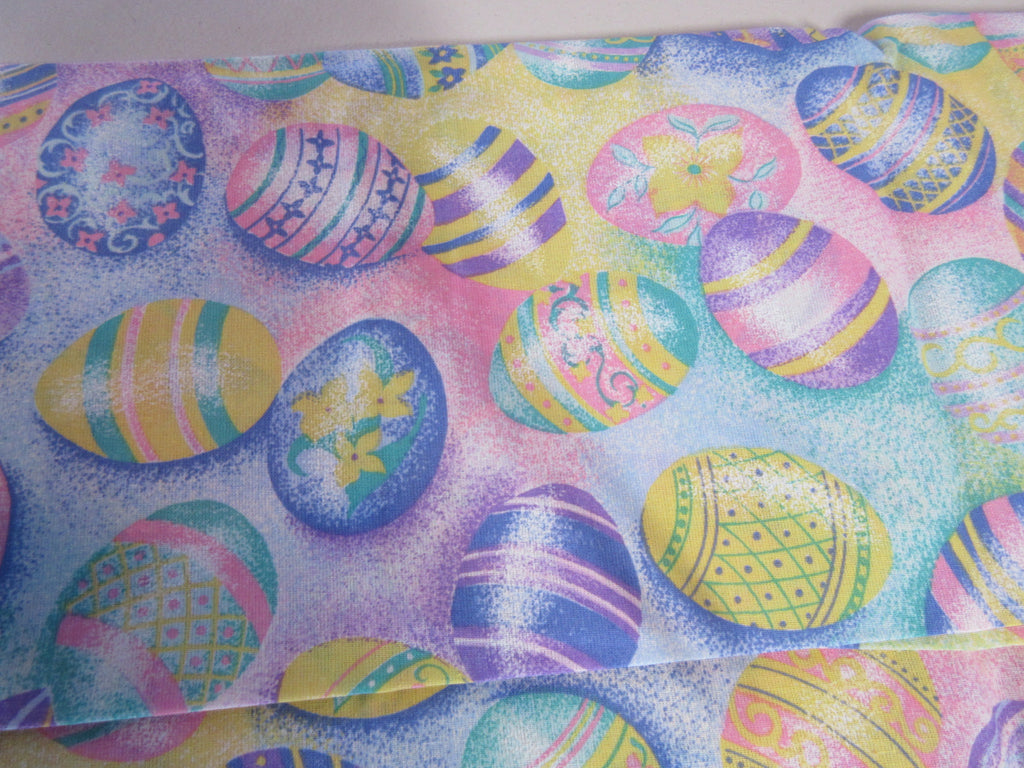 Easter Eggs Pastel Spring NOS Novelty Vintage Printed Tablecloth (52 X 52)