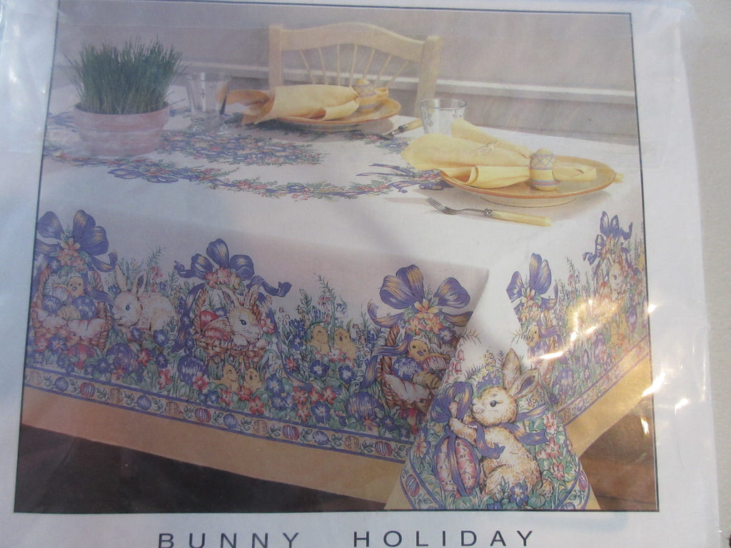 Larger Easter Bunny Chicks Pastel Spring NOS Novelty Vintage Printed Tablecloth (84 X 60)