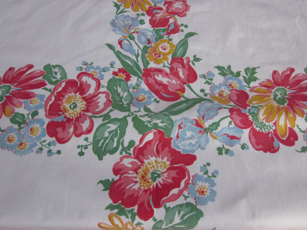 Primary Poppies Tulips Sheeting Floral NWOT Vintage Printed Tablecloth (54 X 49)