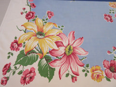 Pink Yellow Roses Hibiscus on French Blue Floral Vintage Printed Tablecloth (51 X 46)