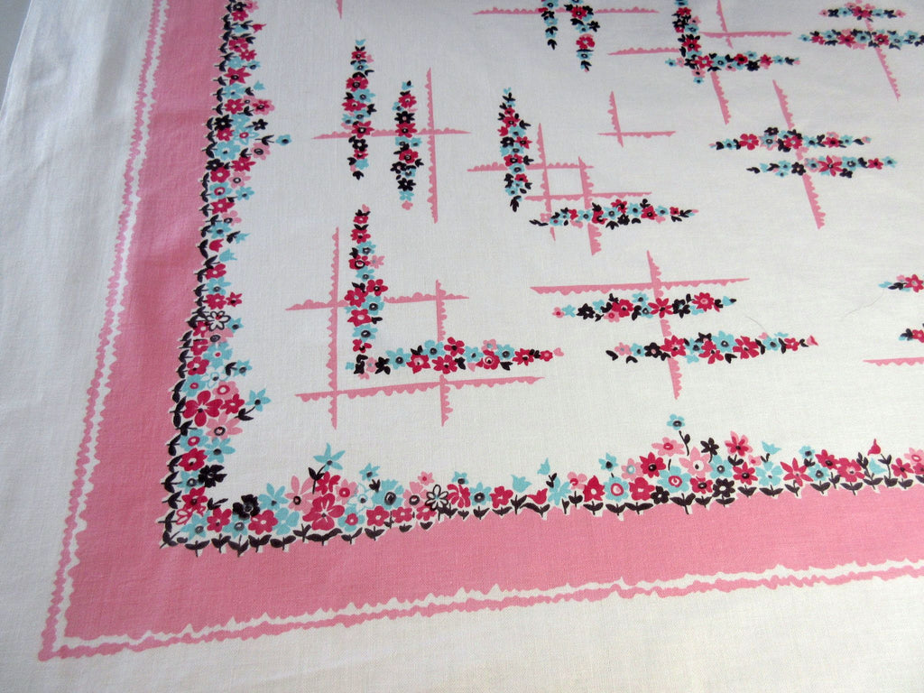 Pretty Petite Pink Blue Floral Vintage Printed Tablecloth (52 X 47)