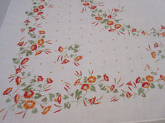 Fall Orange Morning Glories Polkadots Linen Floral Vintage Printed Tablecloth (50 X 49)
