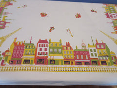 Fabulous Fall in France Shops Novelty Vintage Printed Tablecloth (48 X 47)
