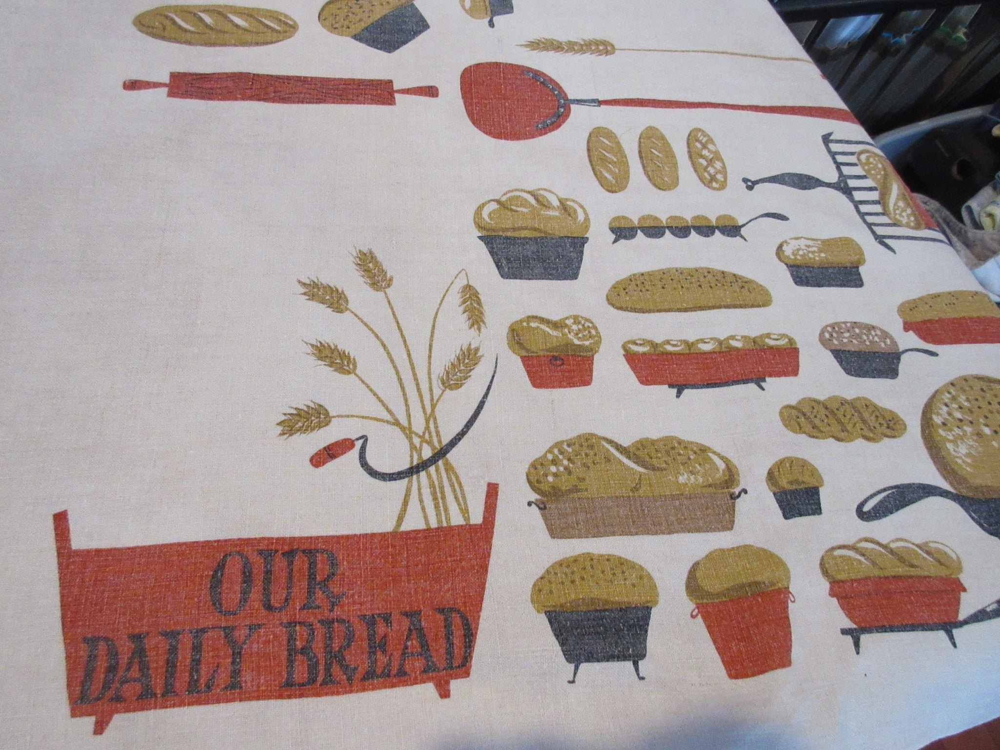 Rare Lord's Prayer Bread Thanksgiving Novelty Vintage Printed Tablecloth (65 X 50)