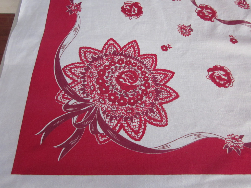 Red Magenta Nosegays Floral Vintage Printed Tablecloth (50 X 47)