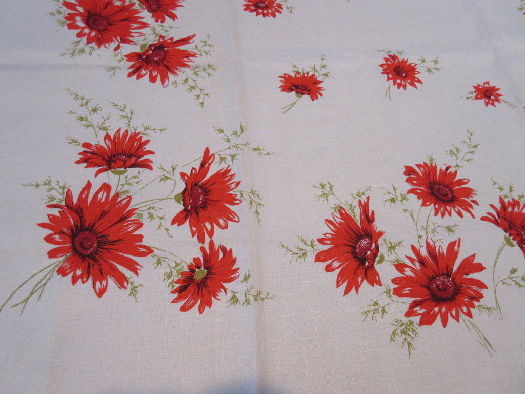Unwashed Orange Gerbera Daisies Linen Floral Vintage Printed Tablecloth (52 X 51)