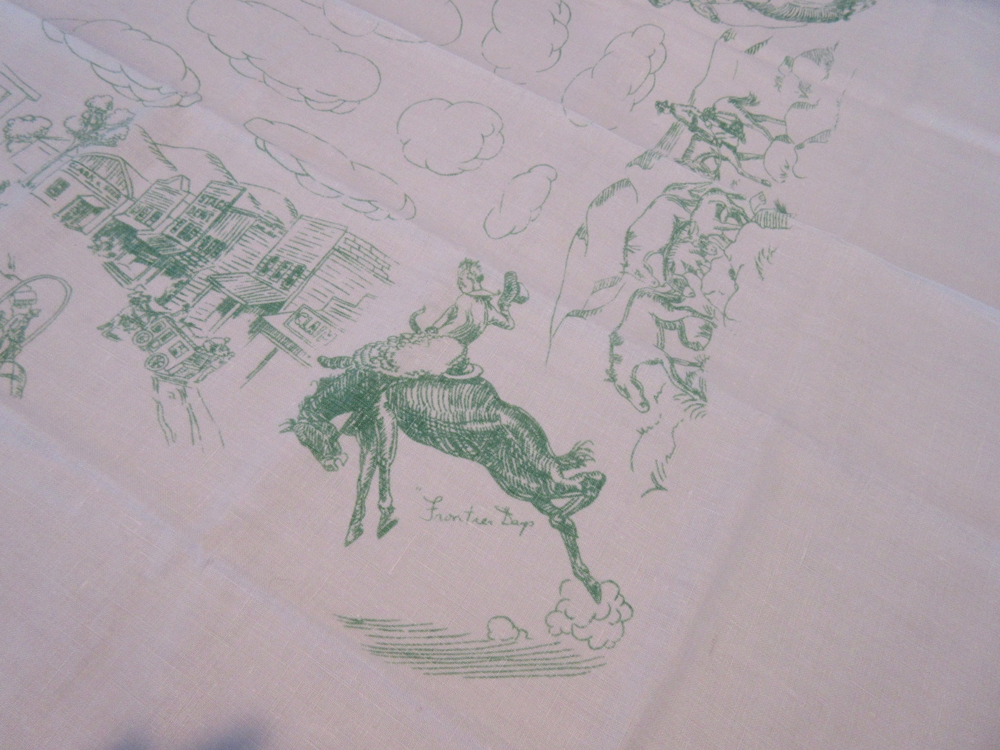 HTF Green Frontier Days Cowboy Wild West Napkins Linen Novelty Vintage Printed Tablecloth (43 X 42)