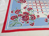 Red Blue Carnations Plaid Floral Vintage Printed Tablecloth (52 X 44)