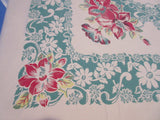 Larger Red Hibiscus on Green Christmas? Floral Vintage Printed Tablecloth (73 X 59)