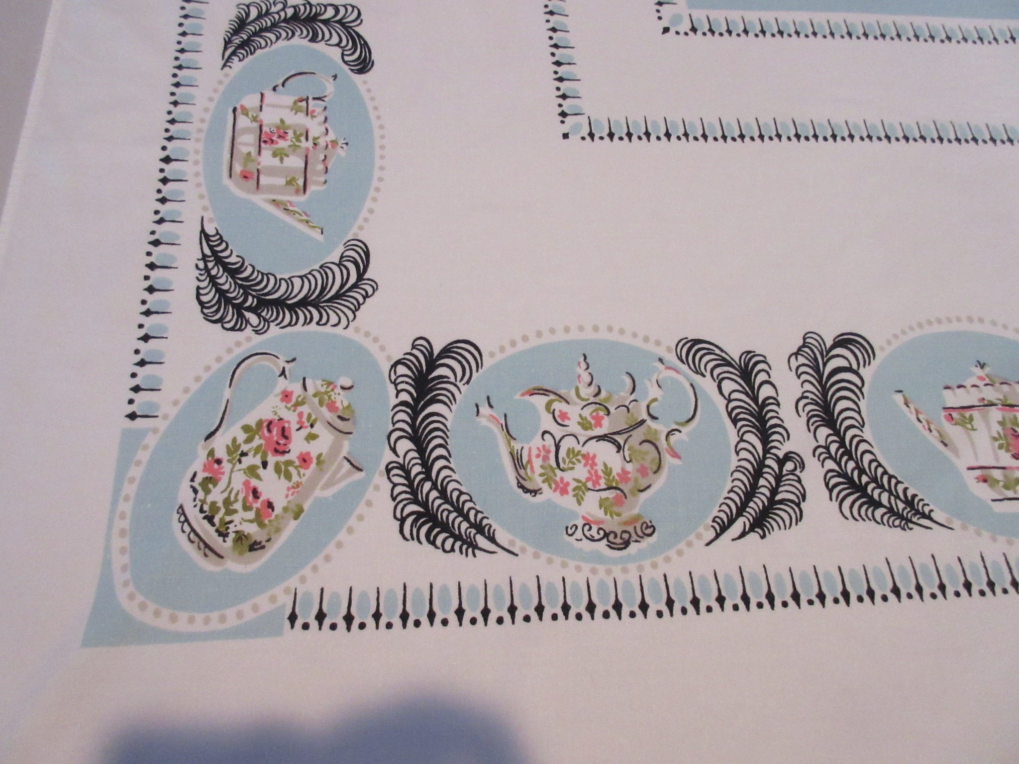 Pretty Pink Roses China on Blue Novelty Vintage Printed Tablecloth (60 X 53)