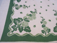Christmas Green Hollyhocks Two Color Linen Floral Vintage Printed Tablecloth (51 X 51)