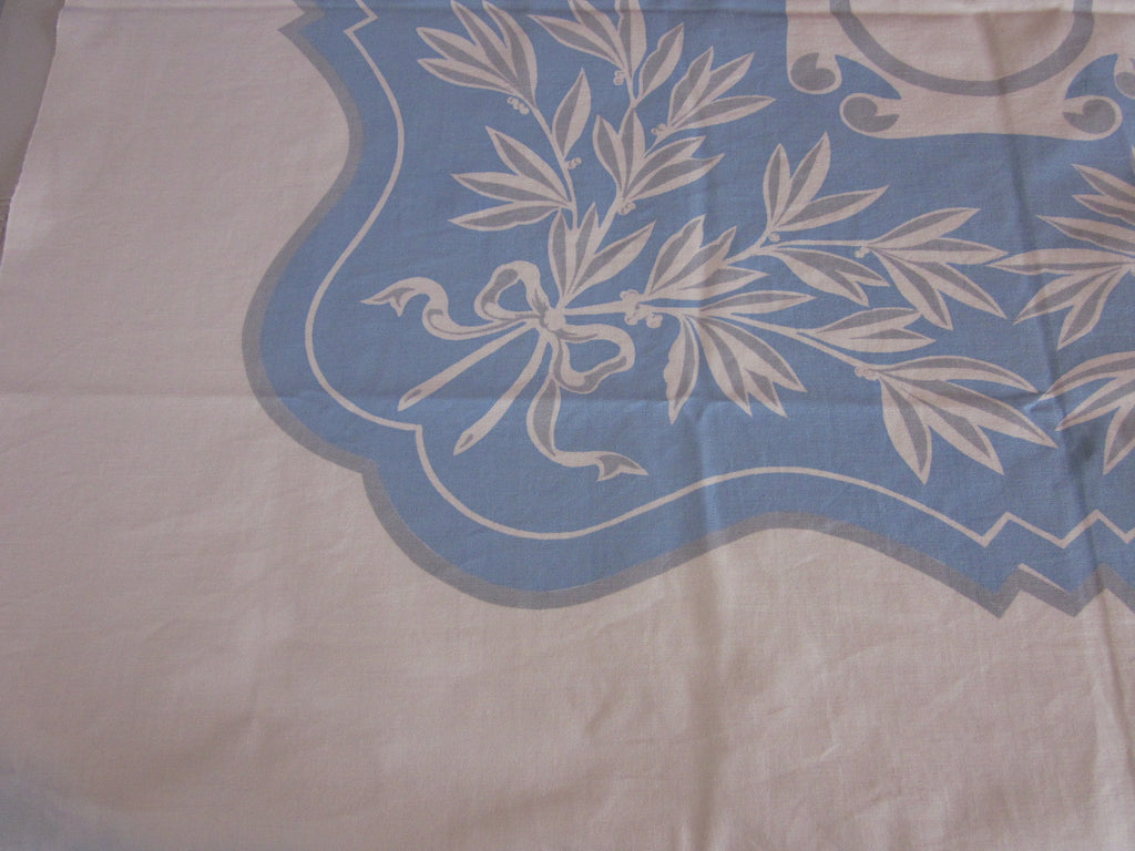 Blue Gray Floral Topper NWOT Vintage Printed Tablecloth (45 X 41)