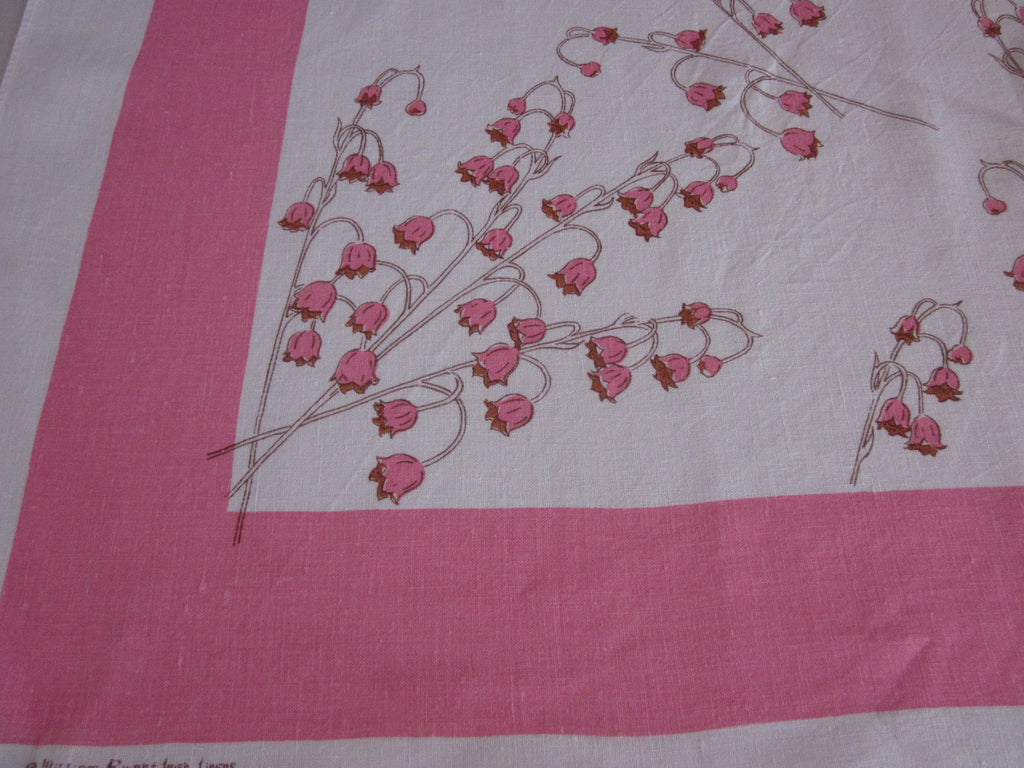 Pink Linen Bellflowers Floral Vintage Printed Tablecloth (51 X 48)