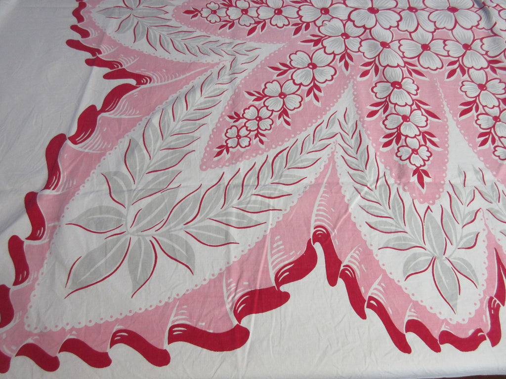 Red Dogwood on Pink Floral Vintage Printed Tablecloth (71 X 54)