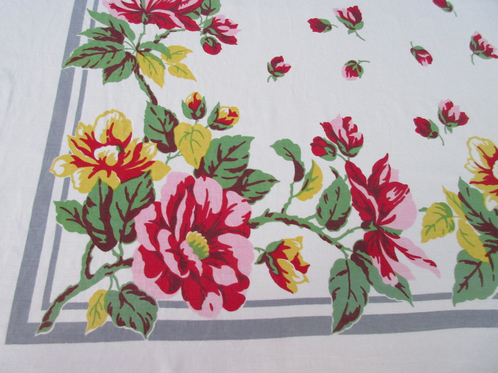 Large Pink Yellow Green Roses on Gray Floral Vintage Printed Tablecloth (67 X 59)
