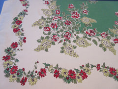 Red Roses Yellow Lilacs on Green Floral Vintage Printed Tablecloth (64 X 54)