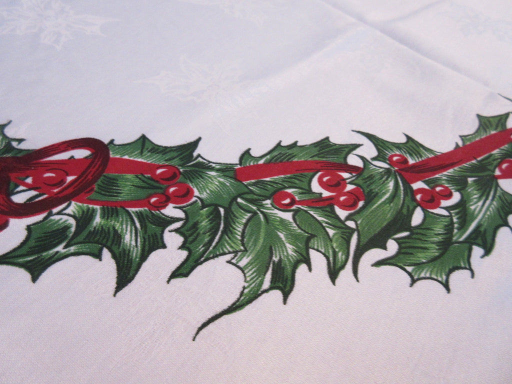 ROUND Vintage Inspired Christopher Radko Holly Christmas Vintage Printed Tablecloth (70 ROUND)