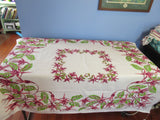 Fabulous Fuschias Pink Green Floral Vintage Printed Tablecloth (53 X 46)