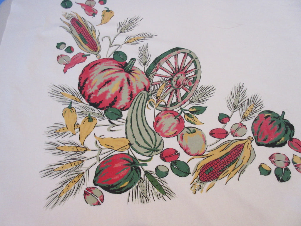 Wilendure Fall Harvest Pumpkin Wagon Wheel Novelty Vintage Printed Tablecloth (52 X 48)