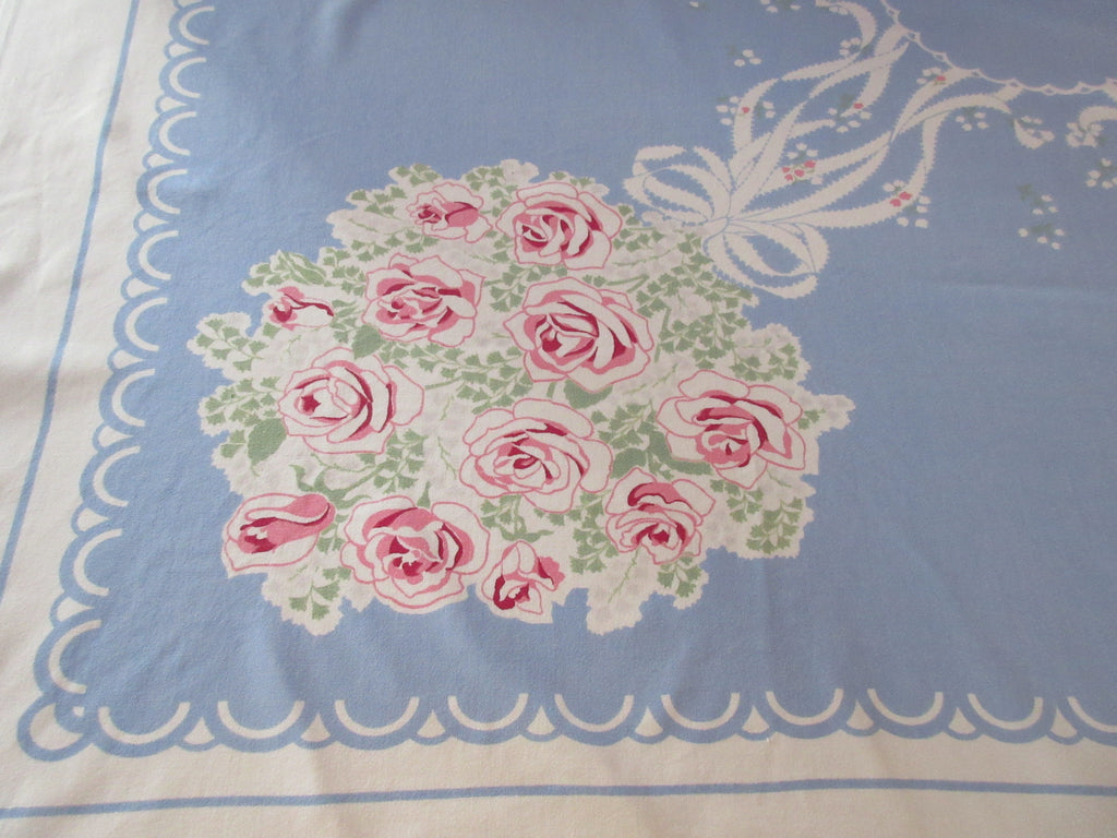 Pink Wedding Bouquets Roses on Blue Napkins Floral Vintage Printed Tablecloth (53 X 46)