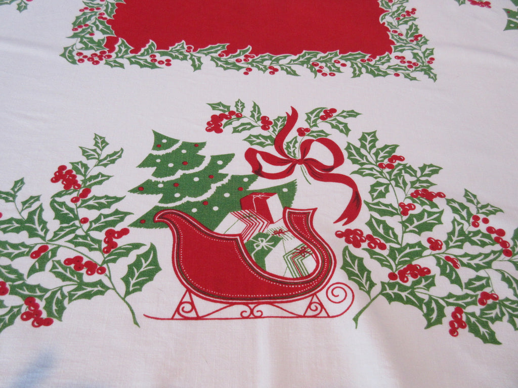 Red Green Christmas Sleigh Novelty Vintage Printed Tablecloth (52 X 43)