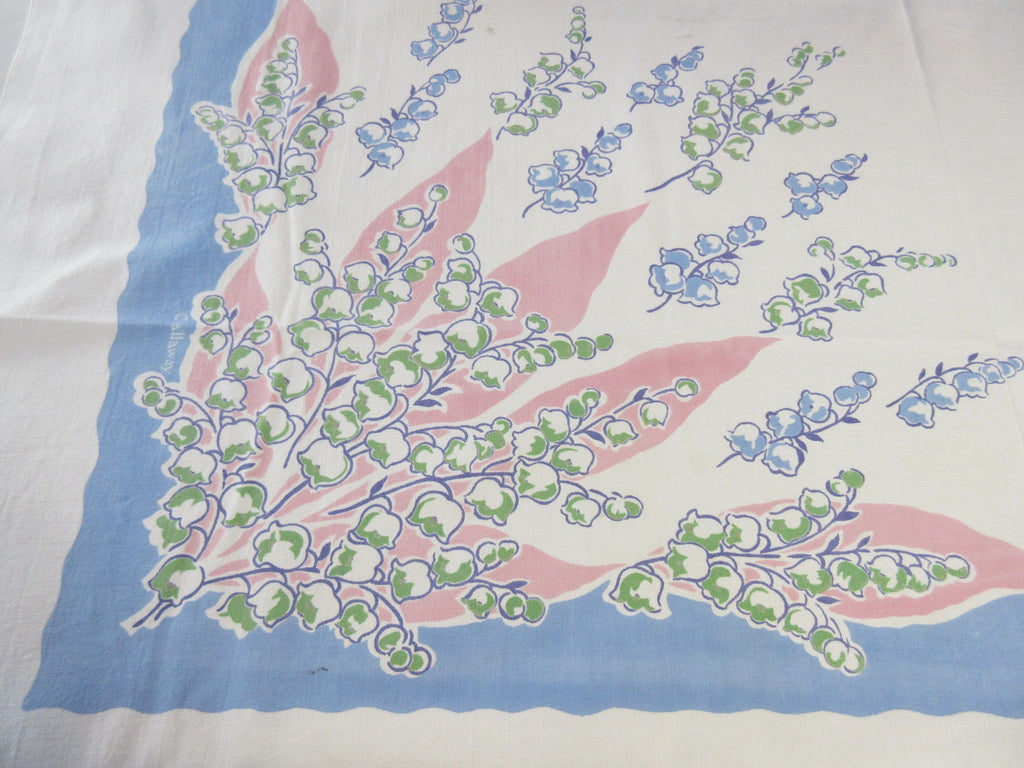 Romantic Pink Blue Lily of the Valley Cutter? Floral Vintage Printed Tablecloth (52 X 47)