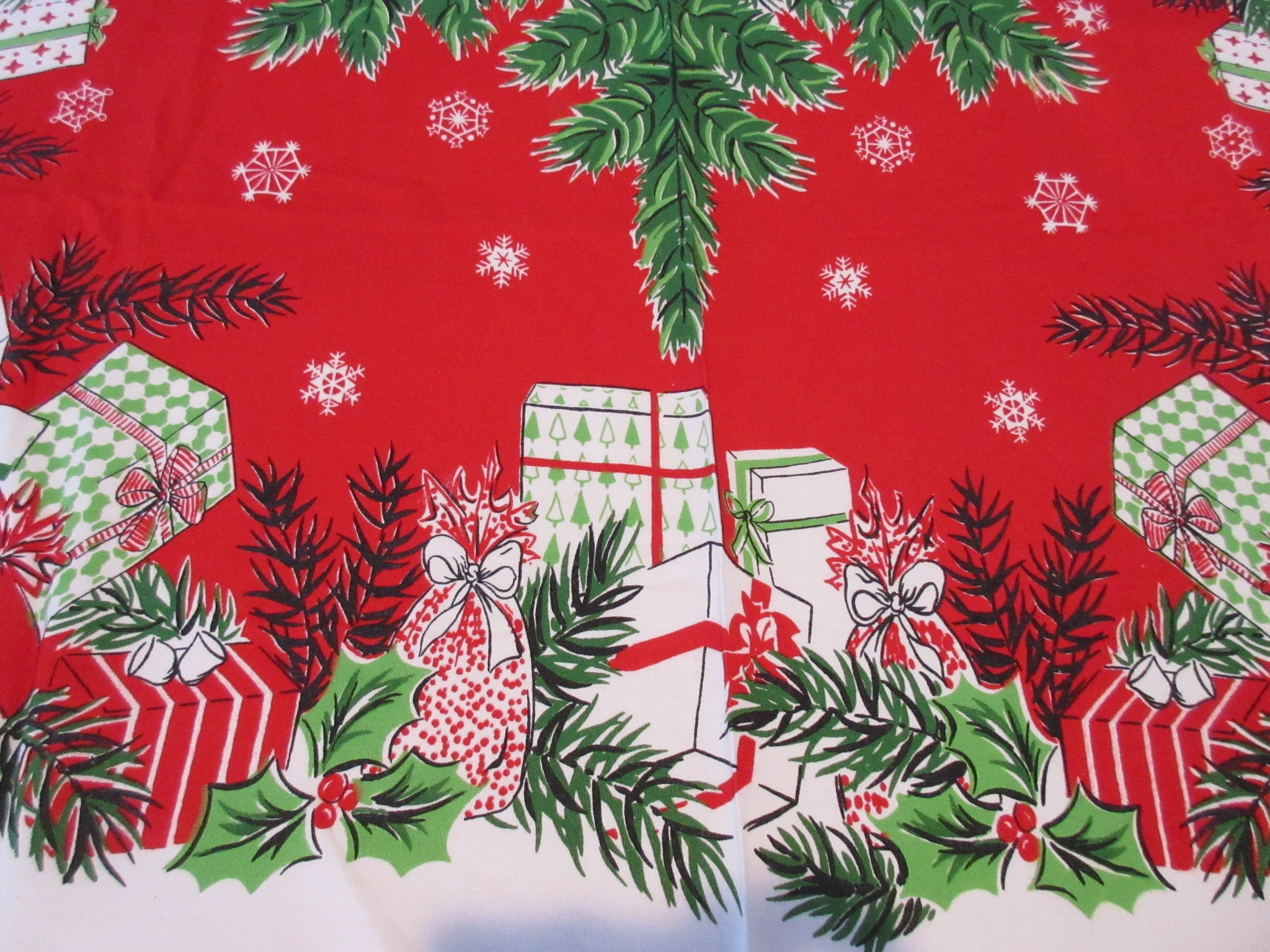 Pine and Presents on Red Christmas Runner? Novelty Vintage Printed Tablecloth (52 X 43)