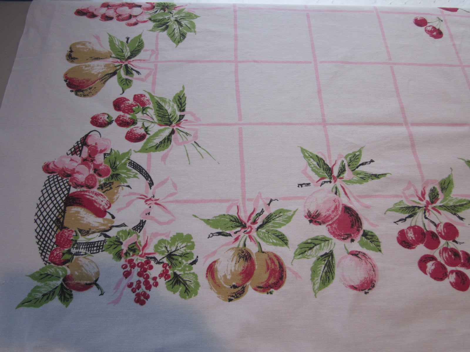 Sweet Pastel Fruit on Pink Ribbons Vintage Printed Tablecloth (50 X 47)
