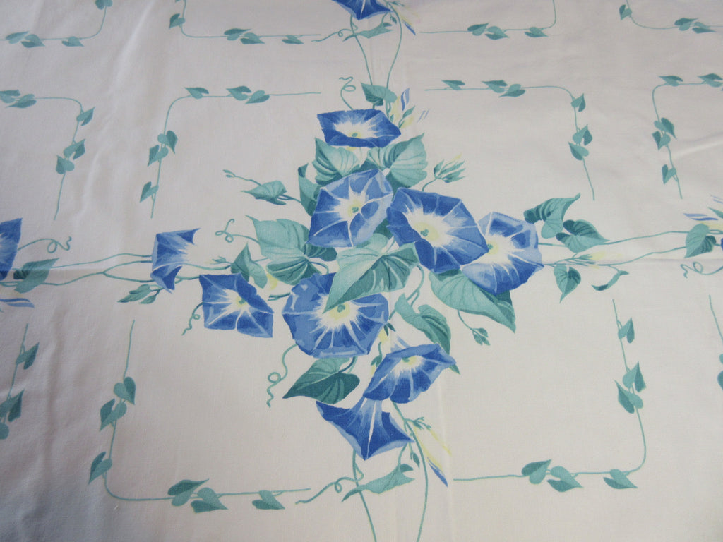Wilendur Blue Morning Glories Floral Vintage Printed Tablecloth (55 X 48)