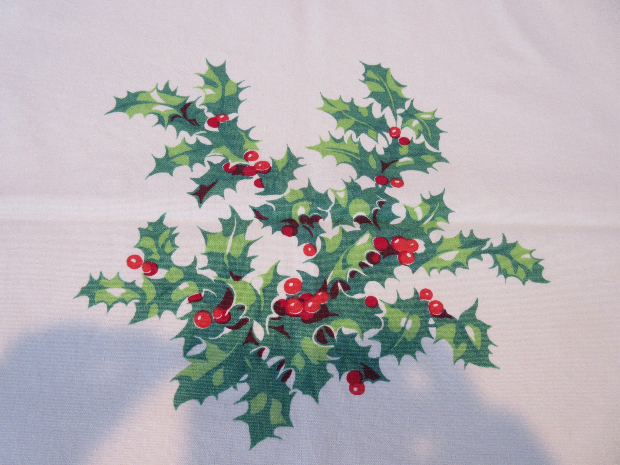 Wilendur Christmas Holly Green Red Novelty Vintage Printed Tablecloth (54 X 47)