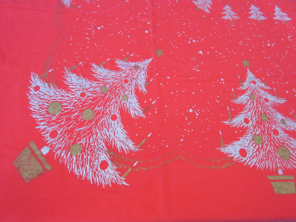 CHP Gold Christmas Trees on Red Novelty Vintage Printed Tablecloth (65 X 54)