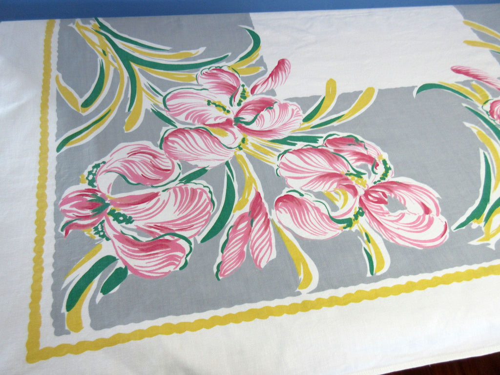 Fab! Bold Pink Iris on Gray Floral Vintage Printed Tablecloth (51 X 47)